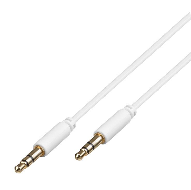 klinke kabel 1 5 m 2x 3 5 mm stereo stecker vergoldet d nn weich weiss von satelliten. Black Bedroom Furniture Sets. Home Design Ideas