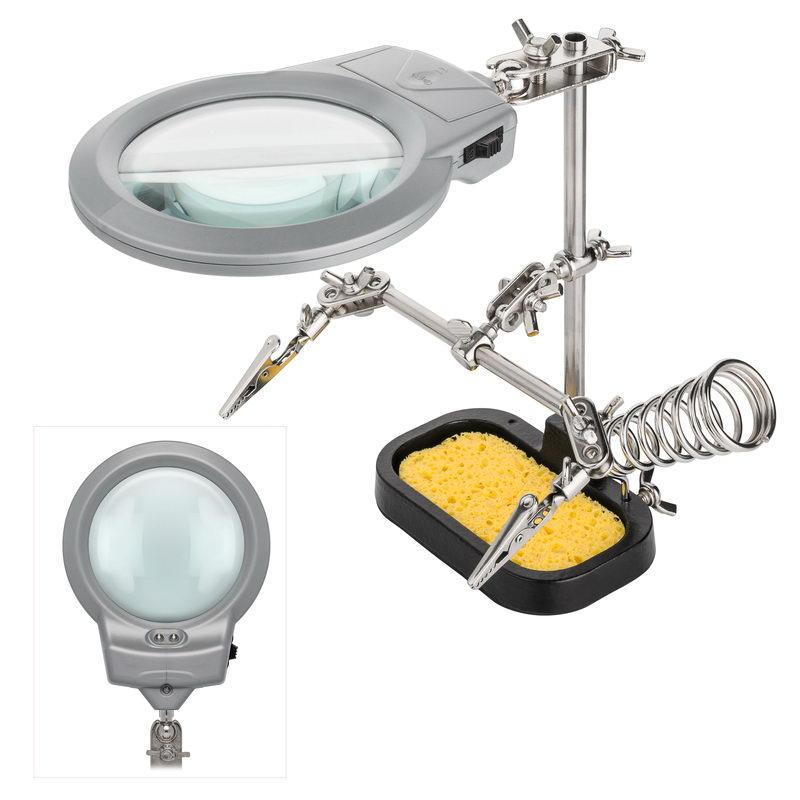 3 hand l thilfe mit led beleuchtung echtglas lupe schwamm st nder ebay. Black Bedroom Furniture Sets. Home Design Ideas