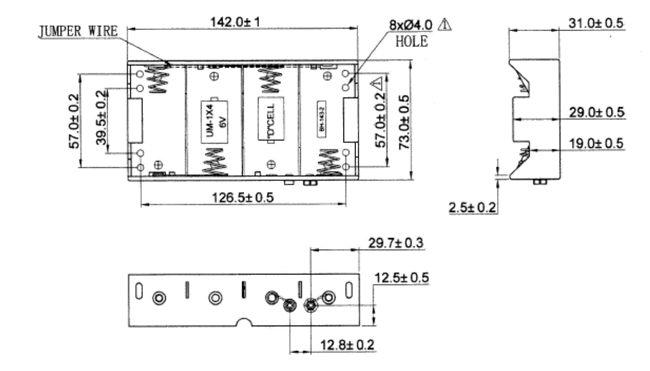 Batteriehalter, Akku-Halter für 4x Mono D (LR20); mit ...