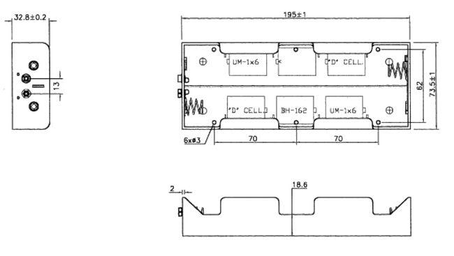 Batterie-, Akku-Halter, Fach, Box für 6x Mono D; mit Druckknopf inkl ...