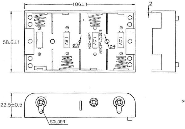 batteriehalter akkuhalter 4x baby c mit l tanschlu batteriefach akkufach von satelliten markt. Black Bedroom Furniture Sets. Home Design Ideas