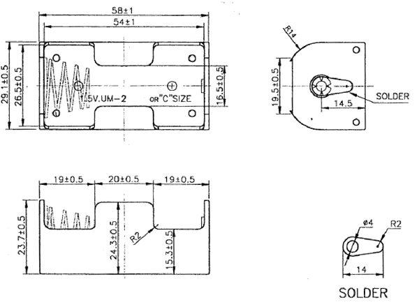 batteriehalter akkuhalter 1x baby c mit l tanschluss batteriefach akkufach von satelliten. Black Bedroom Furniture Sets. Home Design Ideas