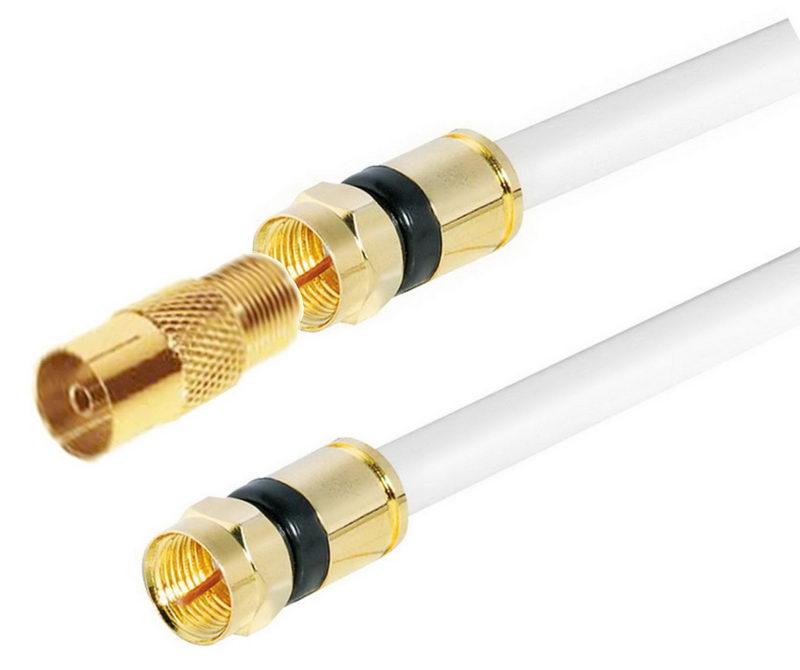 1x Adapter Stecker-Stecker 1,5m High-End HDTV Antennenkabel 4-fach geschirmt