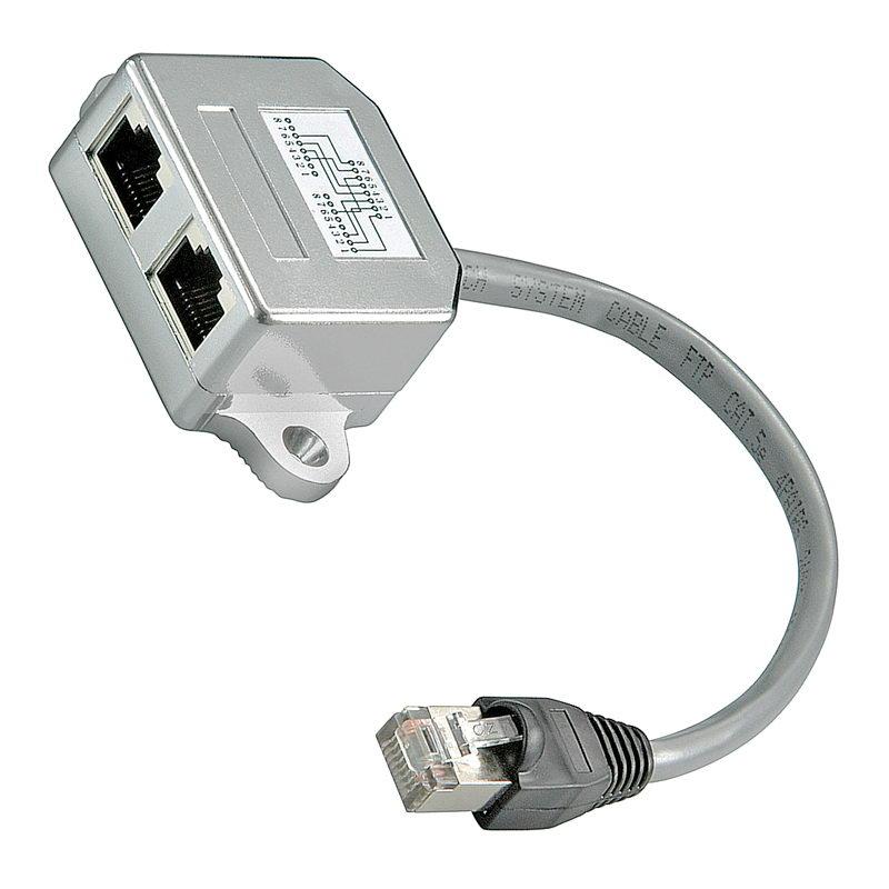 2x Y-Adapter, Verteiler, Splitter: 1x Ethernet [LAN, Netzwerk] + 1x ...
