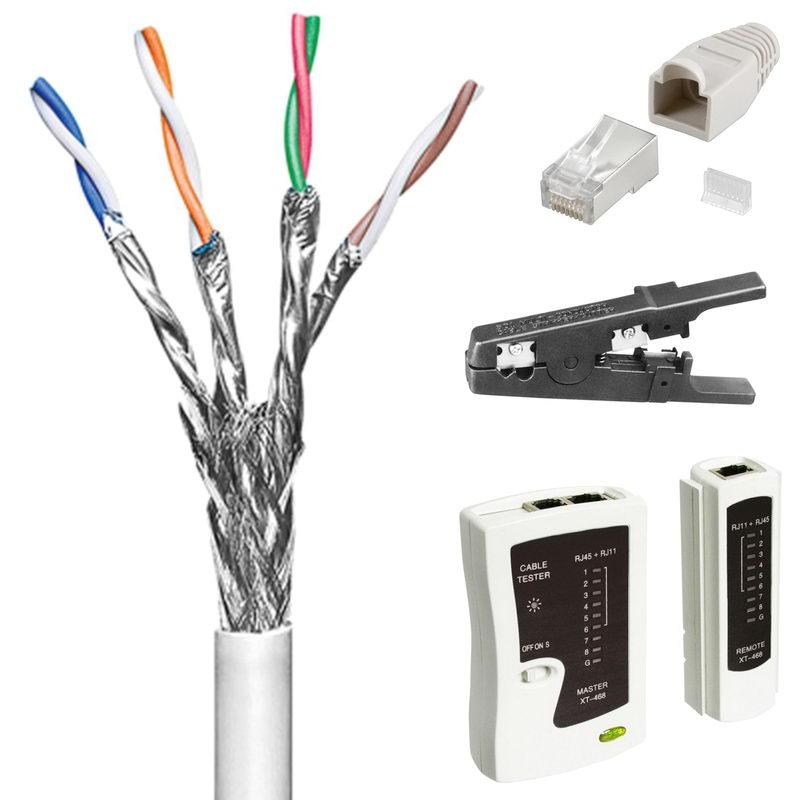 50 m Cat6 Patchkabel-Netzwerkkabel + Netzwerk-Tester + Abisolierer + ...